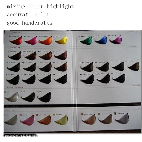 2 folded hair color chart