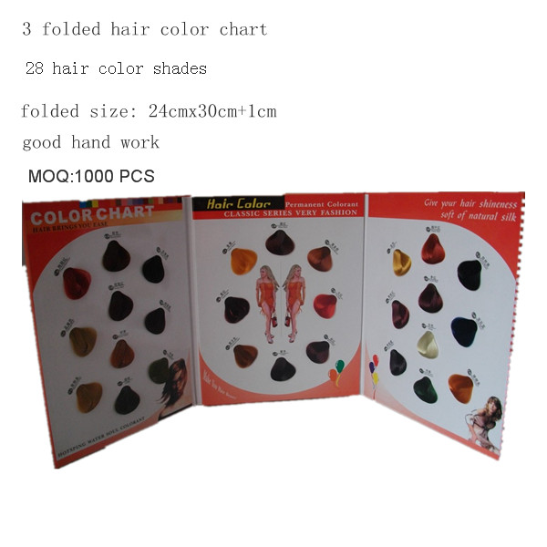 3 folded hair color chart